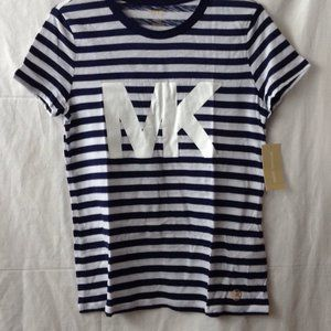 MICHAEL KORS Striped T-Shirt Sz S True Navy